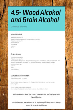 4.5- Wood Alcohol and Grain Alcohol