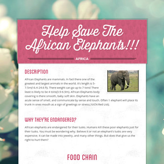 Help Save The African Elephants!!!