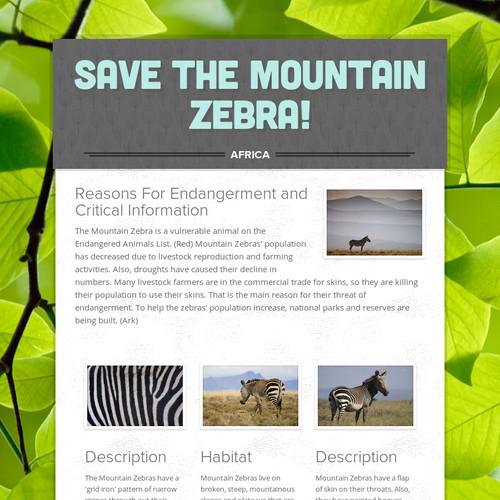 Save the Mountain Zebra!