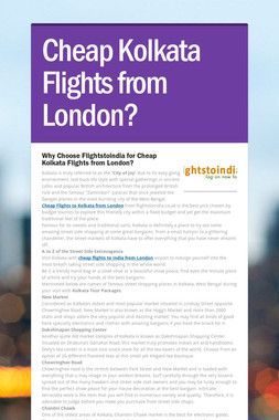 Cheap Kolkata Flights from London?