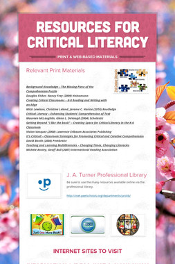 RESOURCES FOR CRITICAL LITERACY