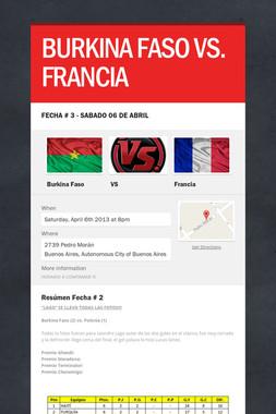 BURKINA FASO VS. FRANCIA