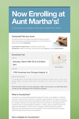Now Enrolling at Aunt Martha's!