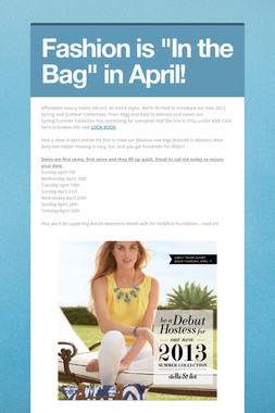 "Fashion is ""In the Bag"" in April!"