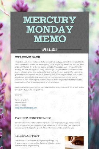 Mercury Monday Memo