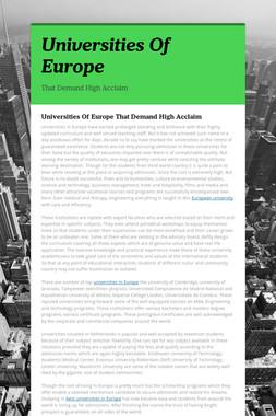 Universities Of Europe