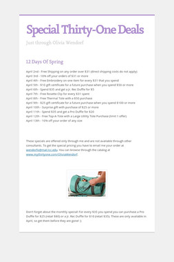 Special Thirty-One Deals