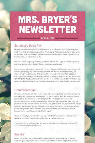 Mrs. Bryer's Newsletter