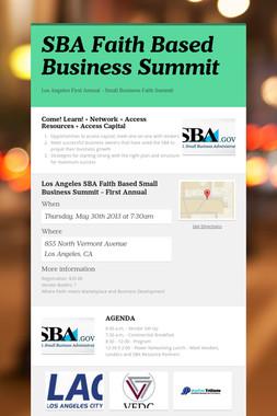 SBA Faith Based Business Summit