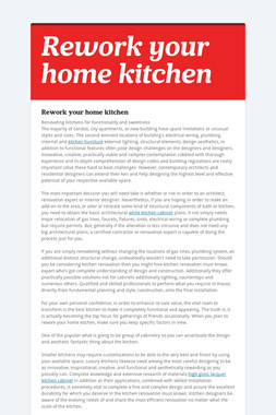 Rework your home kitchen
