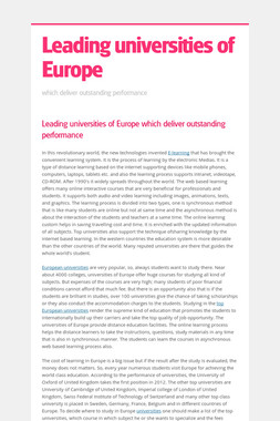 Leading universities of Europe