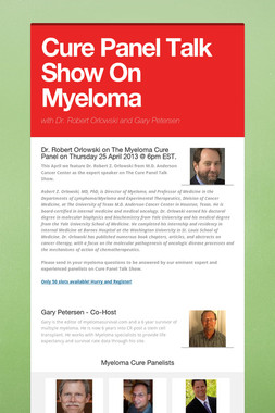 Cure Panel Talk Show On Myeloma