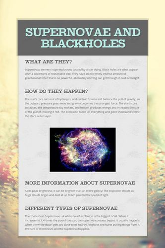 Supernovae and Blackholes