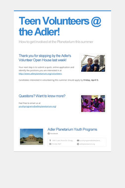 Teen Volunteers @ the Adler!