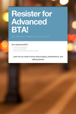 Resister for Advanced BTA!