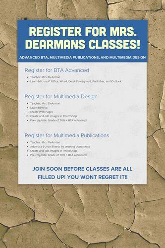 Register for Mrs. DeArmans Classes!