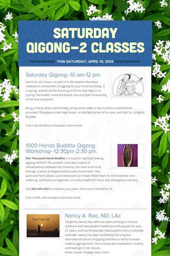 Saturday Qigong-2 classes