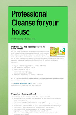 Professional Cleanse for your house