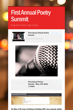 First Annual Poetry Summit