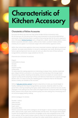 Characteristic of Kitchen Accessory
