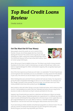 Top Bad Credit Loans Review