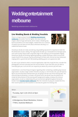 Wedding entertainment melbourne
