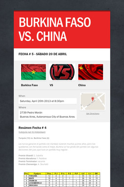 BURKINA FASO VS. CHINA