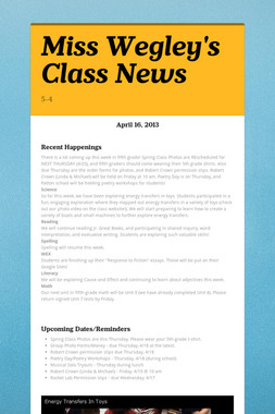 Miss Wegley's Class News