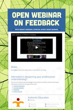 Open Webinar on Feedback
