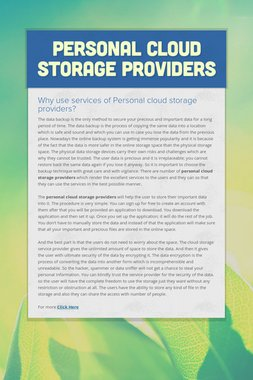 Personal Cloud Storage Providers