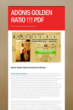 ADONIS GOLDEN RATIO !!! PDF