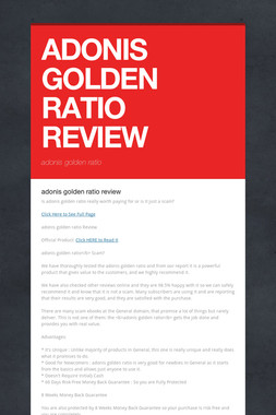 ADONIS GOLDEN RATIO REVIEW