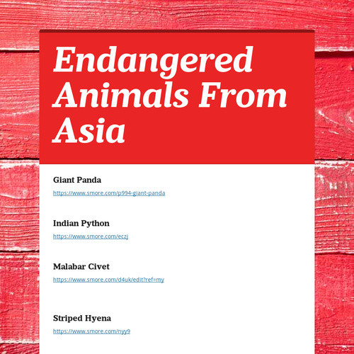Endangered animals from asia