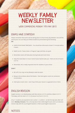 WEEKLY FAMILY NEWSLETTER