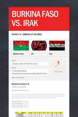 BURKINA FASO VS. IRAK
