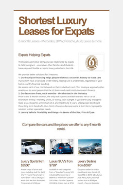 Shortest Luxury Leases for Expats