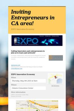 Inviting Entrepreneurs in CA area!
