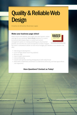 Quality & Reliable Web Design