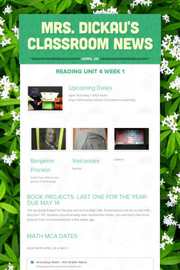 Mrs. Dickau's Classroom News