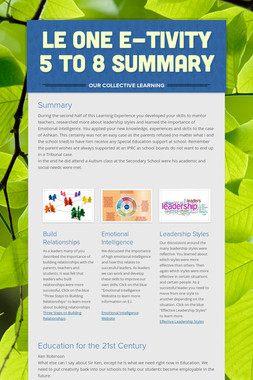 LE One E-tivity 5 to 8 Summary