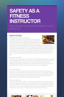 SAFETY AS A FITNESS INSTRUCTOR
