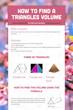 How to find a Triangles Volume