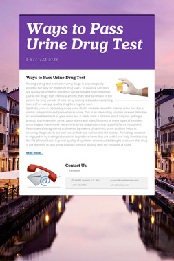 Ways to Pass Urine Drug Test