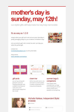 mother's day is sunday, may 12th!