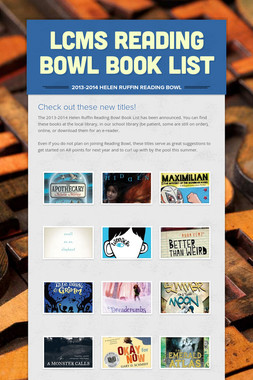LCMS Reading Bowl Book List