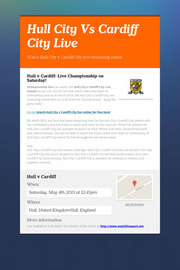 Hull City Vs Cardiff City Live