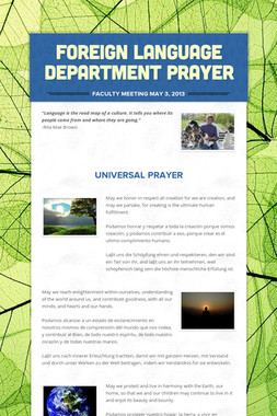 Foreign Language Department Prayer