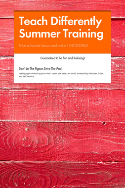 Teach Differently Summer Training