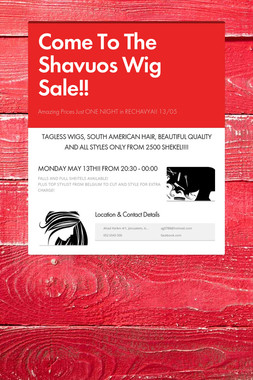 Come To The  Shavuos Wig Sale!!