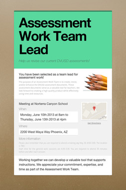 Assessment Work Team Lead